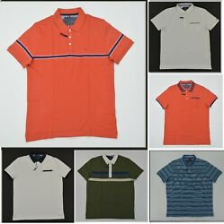NWT Men#x27;s Tommy Hilfiger Short Sleeve THLUXE Finish Polo Shirt Slim Fit XS 3XL $30.00