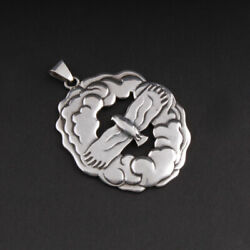 Antique Evald Nielsen Sterling Pendant With Bird. Denmark. Silver. Very Large.