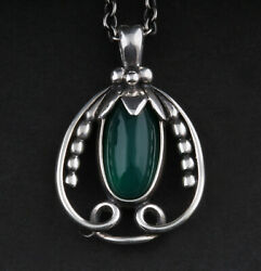 Georg Jensen Sterling Pendant Of The Year 1990, Silver, Green Agate. 3412190.