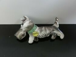 VERY OLD HAND PAINTED ENAMEL SWEET RAC SCOTTY TERRIER DOG ON SILVER PIN BROOCH