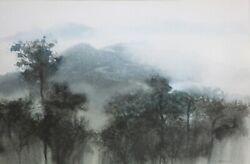 Wan Soon Kam-singapore Impressionist-original Signed Wc-misty Forest And Mountain