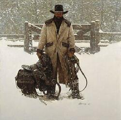 James Bama Buck Norris - Crossed Sabres Ranch Canvas Giclee