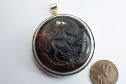 Antique Ancient Agate / Glass Intaglio Astrological Signs Gold Pendant