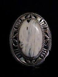 Native American Navajo Signed White Buffalo Turquoise And Sterling Size 10 Ring