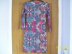 Green Purple & Pink Floral Pattern Bodycon Dress 34 Sleeve by BOOHOO size 8 vgc