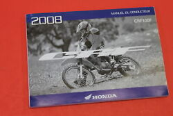 Nos Honda Conductors Manual In French 2008 Crf100f Part 00x33-ksj-6400
