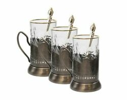Set Of 3 Vintage Russian Crystal Tea Glasses With Metal Holder And039podstakannikand039