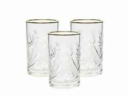 Set Of 3 Vintage Russian Crystal Tea Glasses For Metal Holder And039podstakannikand039
