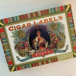 Collectible Postcards Reproduced Cigar Labels Boxed Set 38 Of 40 Art Paper