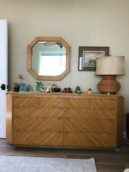Vintage Milo Baughman bamboo dresser mirror side table and lamp