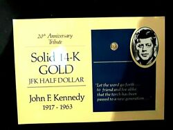 2=1+1 14k Solid Gold Us0.5 Coin Of Jfk,kennedy 20th Anniv. + Us Old One Cent