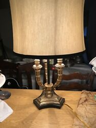 Vintage Brass 3 Arm Candelabra Electric Table Lamp Heavy