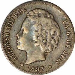 1893 Spain 1 Peseta Silver- Nice Vf - Better Date Collector Coin - D72tcst1