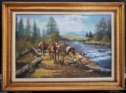 Large Original Oil Painting On Canvas Western Scene By Peter Holmer