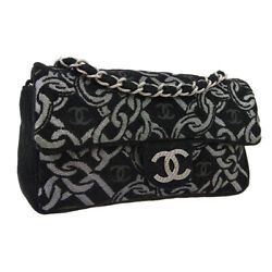 CHANEL Chain Design CC Single Chain Shoulder Bag Black Silver Tweed GS02641 $2,166.00