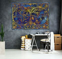 3d Blue Pattern Kep272 World Map Character Wall Mural Decal Stickers Poster Kay
