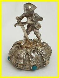 Early 19th C Smoky Quartz Silver Gilt Wax Seal Figure Set With Turquoise