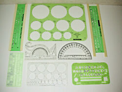 Lot Of 8 Lettering Guide Templates Circle Templates And Protractor Templates
