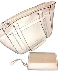Liz Clairborne White Leather Tote WITH TRIFOLD WALLET NWT