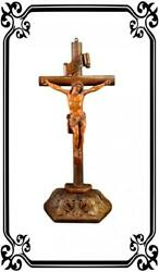 Rare French Antique Hand Carved Wood Large Wall Or Standing Crucifix 18th Signed