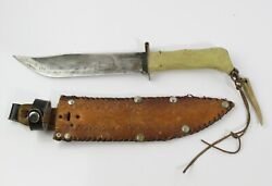 Vintage Ontario Knife Co. 8-5/ Blade Hunting Knife With Leather Sheath