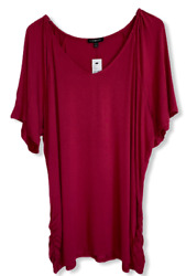 Lane Bryant Pleated Shoulder Red Bud Casual Soft Tee Shirt Womens Sz 22 24 $19.00