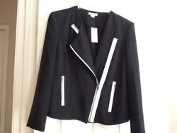 Womenand039s Moto Jacket By Helmut Lang New Black W/white Accent Size 10 199