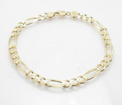 Bold Solid Royal Figaro Ankle Bracelet Anklet Real 14k Yellow Gold All Sizes