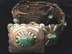 Turquoise And Silver Concho Belt 5 Conchos And 6 Butterflies 40