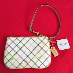COACH Peyton Tattersall Small Wristlet Purse Wrist Bag Purse Wallet Clutch NWT