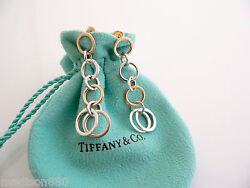 And Co Silver 18k Gold Circles Long Dangling Dangle Earrings Gift Pouch