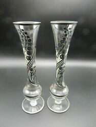 Two 9.5 Glass Sterling Silver Overlay Lily Of The Valley Bud Vases