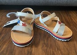 Toddler Girls Aesha Stars Sandals Shoes Size 6 Damage Missing Piece