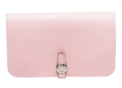 Hermes Rose Sakura Swift Leather Dogon Duo Combined Wallet