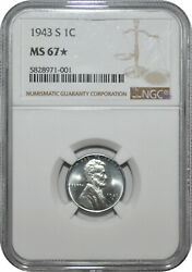 1943 1c Lincoln Steel Wheat Cent Ngc Ms 67 Star