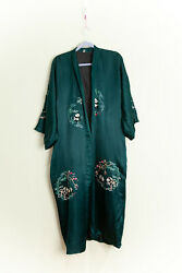 Silky Robe Colorful Embroidered Panda Bamboo Design Emerald Green Liner
