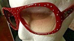 Authentic Chanel Aviator Sunglasses Rare Red Frame Silver Studs Made In Italy $305.00