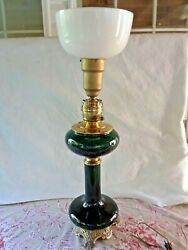 Vintage Paul Hanson Green Glass And Brass Table Lamp Electric