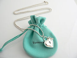 And Co Large Heart Key Necklace Pendant Charm 34 In Chain Gift Love Pouch