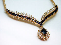 4750 Beautiful Ladies 3ct Royal Blue Sapphire Diamond Gold Necklace And Pendant