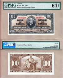 1937 100 Bank Of Canada Pmg Choice Unc64 Epq, Coyne And Towers. Bc-27c