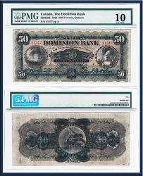 Very Rare 1901 50 The Dominion Bank Large Size Note. Pmg Vg10 Vg/fine