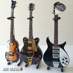 Beatles Collectible Set Of Three Classic Fab Four Mini Guitars Models 14 Scale