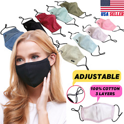Adjustable Cotton Face Mask Triple Layer Reusable Washable USA SAMEDAY SHIPPING $10.99