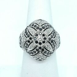 Cool 18k White Gold Vintage Style Black And White Diamond Cocktail Ring Size 7
