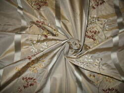Velvet Embroidered Silk Taffeta Fabric Rose Of Tralee Collection Pewter 17 Yard