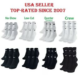 New Nike Dri-fit Performance Cotton Crew Menand039s And Womenand039s Socks 1 3 Or 6 Pairs