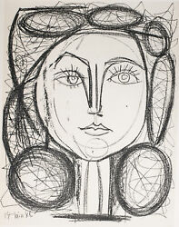 Francoise 1949 Limited Edition Lithograph By Pablo Picasso Dimensions 9 X 6.87