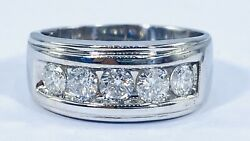 1.00 Ct Natural 5 X Diamond Mens Band Ring Solid 14k White Gold 9 Mm Video