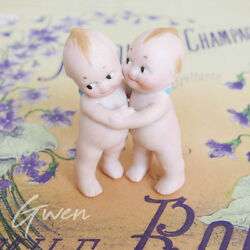 Antique 2.5 Action Kewpie Cupie Twin Baby Huggers Rose O'neill Bisque 1913